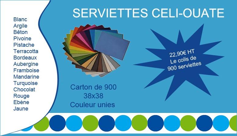 Serviettes Celi-ouate de couleur unies 38x38 Carton de 900 : 22,90€ HT